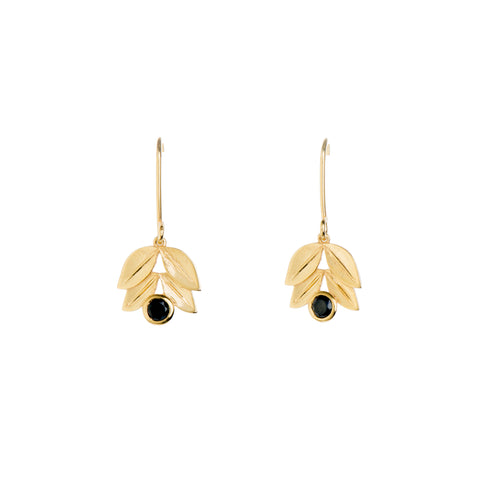 Four Leaf Yellow Gold  and Black Spinel Earrings