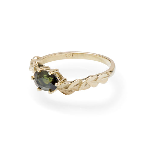 Oval Green Tourmaline East-West Yellow Gold Leaf Ring