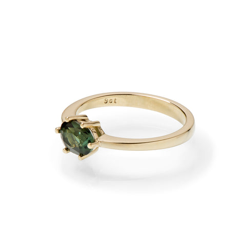 Oval Green Tourmaline East West and Yellow Gold Ring