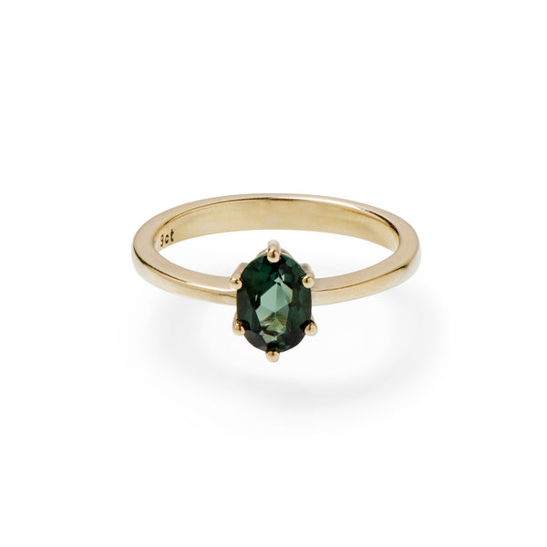 Green oval tourmaline six claw yellow gold ring