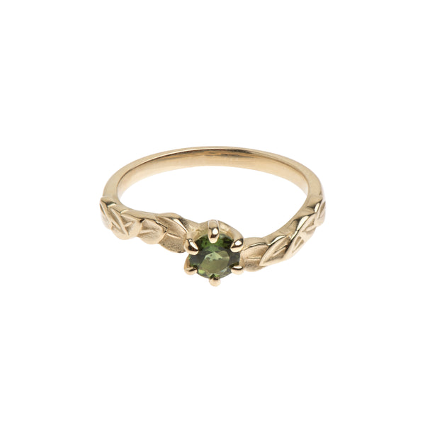 Six Claw Green Tourmaline and Yellow Gold Leaf Ring