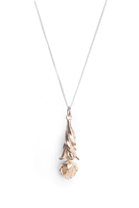 Hand made King Protea Fynbos full leaf necklace manufactured in Sterling Silver and Yellow Gold Plated