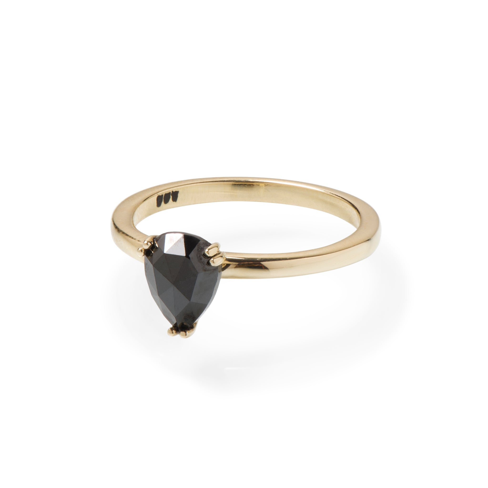 Pear Shape Black Diamond and Yellow Gold Ring