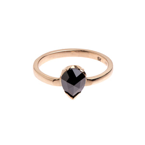 Pear Shape Black Diamond and Yellow Gold Ring.