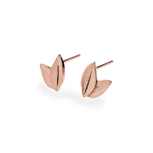 Two Leaf Stud Rose Gold