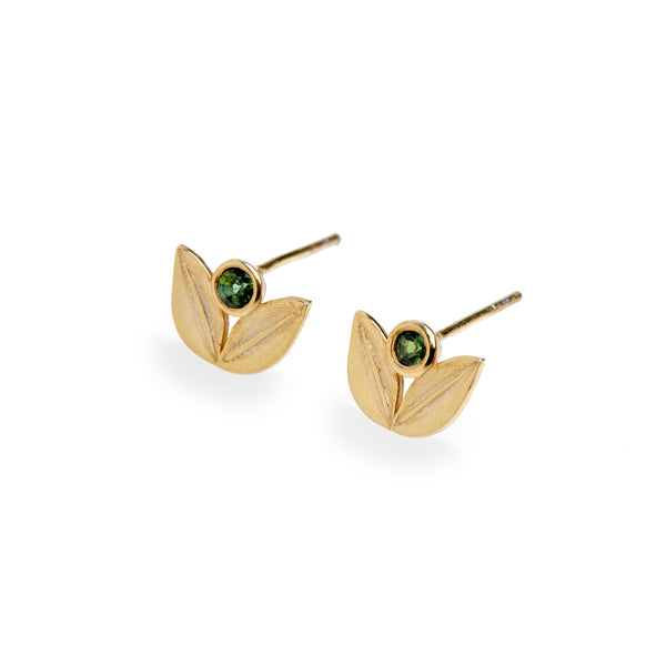 Split Leaf Studs Yellow Gold with Green Tourmaline
