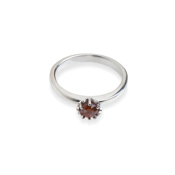 Sterling Silver Protea Ring with Rose Cut Diamond.