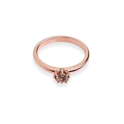Rose gold protea ring set with a morganite stone