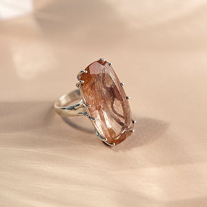 Sterling Silver and Red Rutilated Quartz Statement Ring