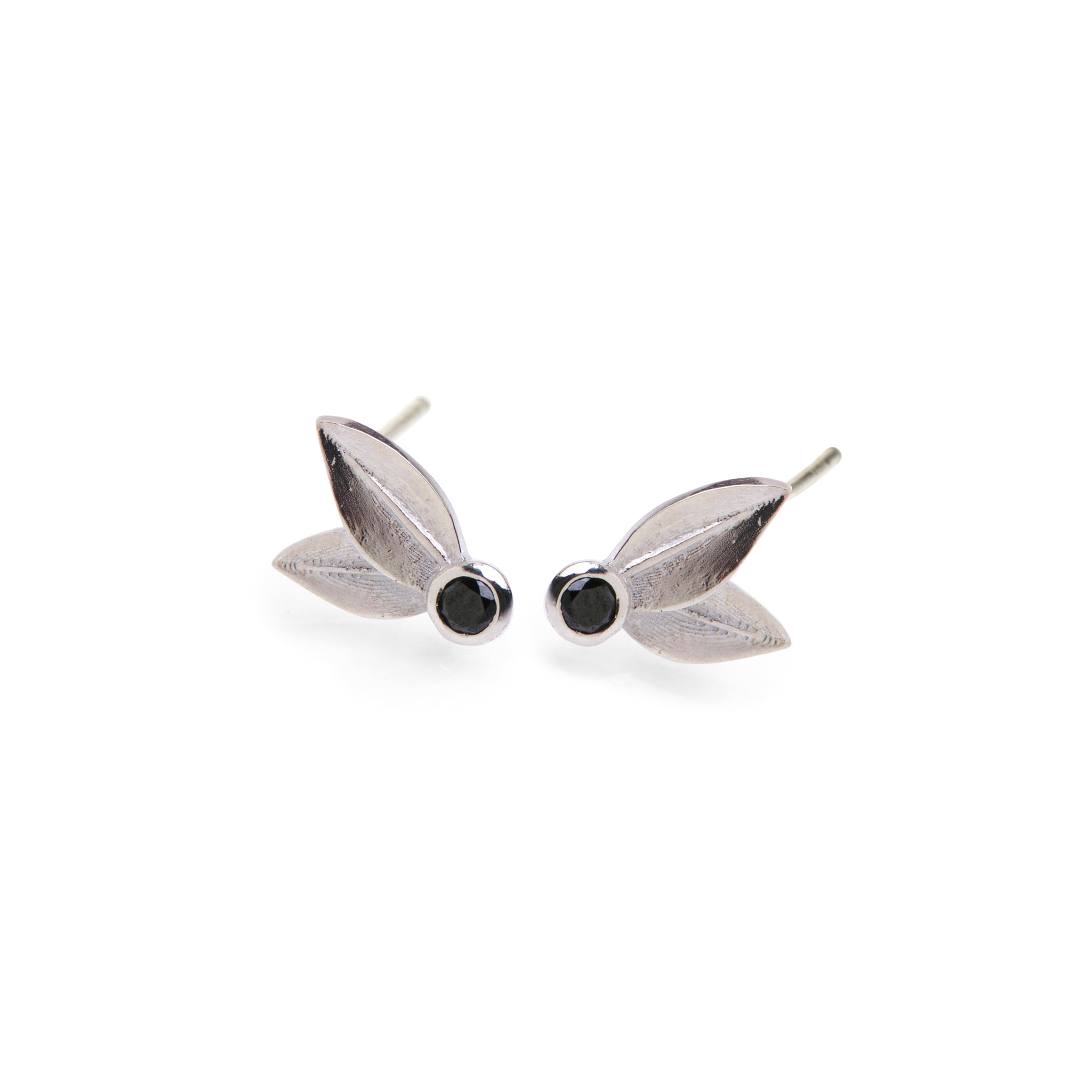 Two Leaf Stud Sterling Silver With Black Diamonds