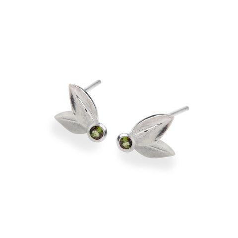 Two Leaf Stud Sterling Silver With Green Tourmalines