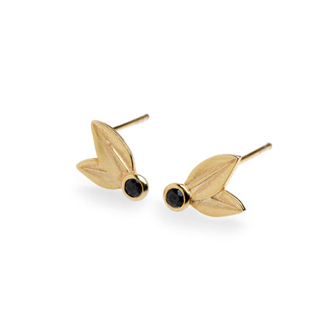 Two Leaf Stud Yellow Gold With Black Diamonds