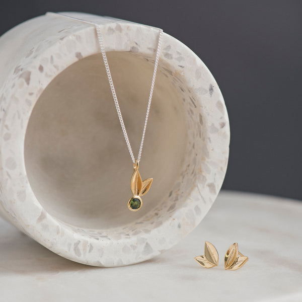 Two Leaf Yellow Gold Green Tourmaline Necklace