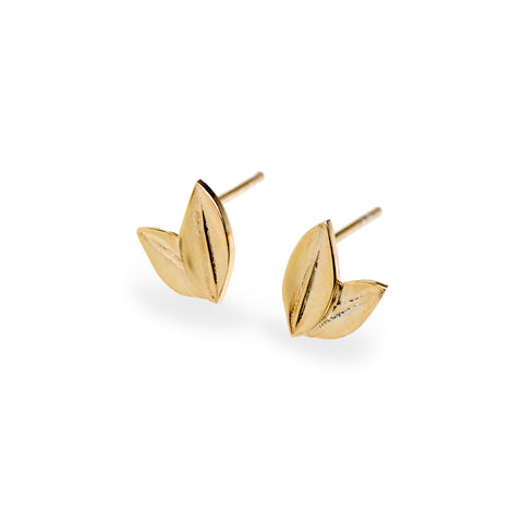 Two Leaf Stud Yellow Gold