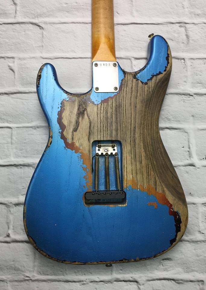 Fraser Guitars : CSS Lake Placid Blue over Sunburst HSS Heavy Relic Ash 60s : Retro Vintage Custom Aged S-Style Guitar