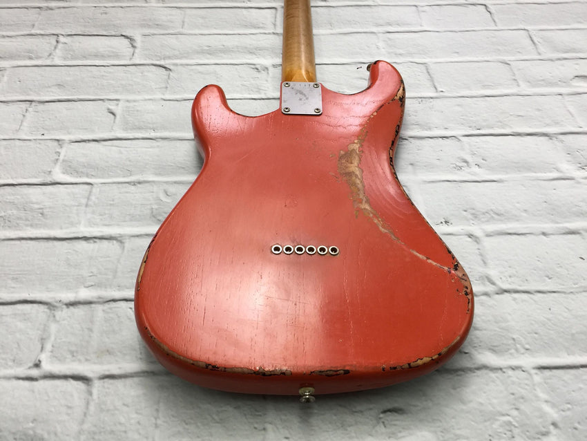 Fraser Guitars : CSS Fiesta Red over Sunburst HSS Medium Relic Ash 60s : Retro Vintage Custom Aged S-Style Guitar