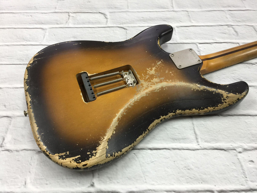 Fraser Guitars : CSS Tobacco Burst Ash HSS Medium Relic 54 : Retro Vintage Custom Aged S-Style Guitar