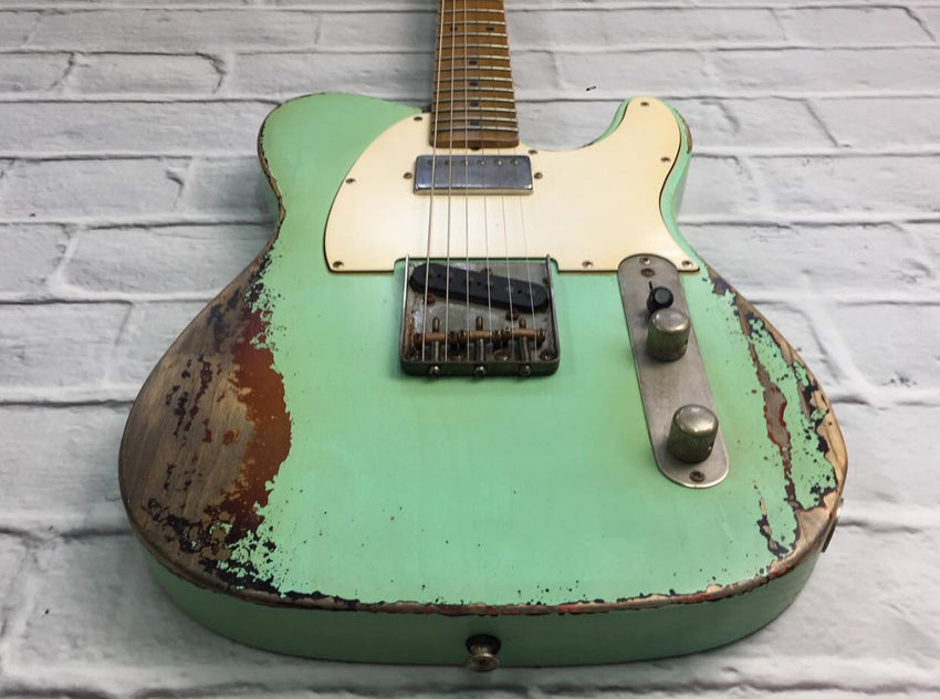 Fraser Guitars : CTS Surf Green over Sunburst SH Medium Relic Ash 50s : Retro Vintage Custom Aged T-Style Guitar