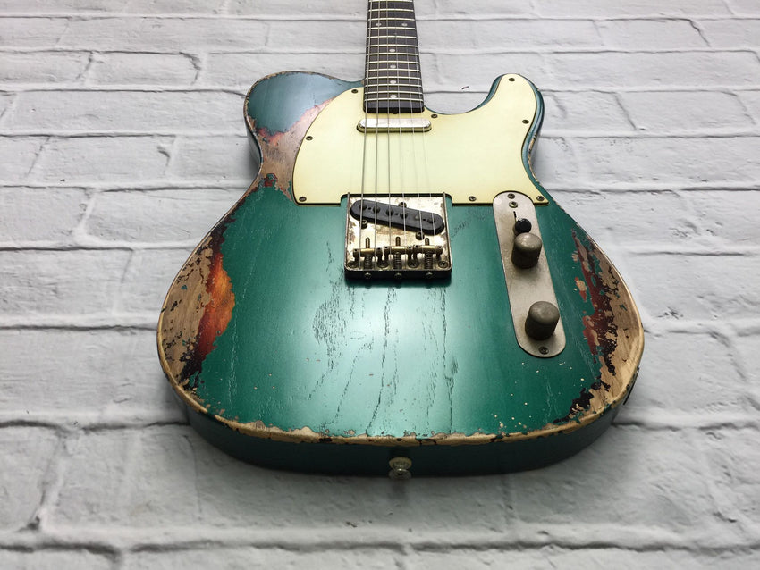 Fraser Guitars : CTS Sherwood Green over Sunburst Medium Relic 60s : Retro Vintage Custom Aged T-Style Guitar