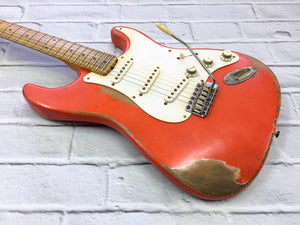 Fraser Guitars : VSS Fiesta Red Medium Relic 50s : Retro Vintage Aged Custom S-Style Guitar