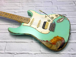 Fraser Guitars : CSS Surf Green over Sunburst HSS Medium Relic Ash 50s : Retro Vintage Custom Aged S-Style Guitar