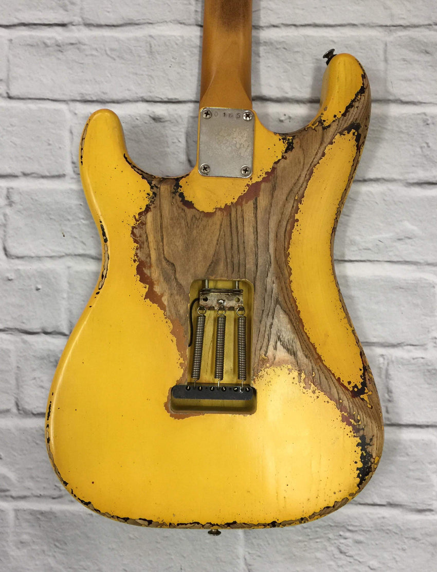 Fraser Guitars : CSS Golden Yellow over Sunburst Heavy Relic Ash 60s : Retro Vintage Aged Custom S-Style Guitar
