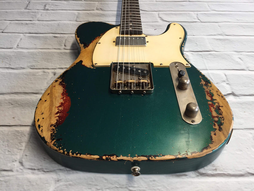 Fraser Guitars : CTS Sherwood Green over Sunburst SH Medium Relic Ash 60s : Retro Vintage Aged Custom T-Style Guitar