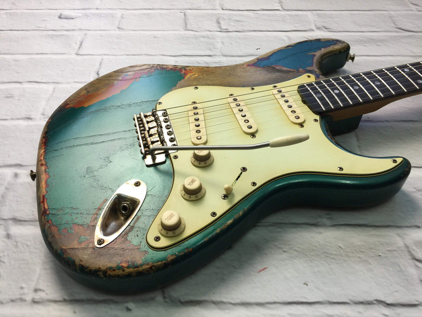 Fraser Guitars : CSS Sherwood Green over Sunburst Heavy Relic Ash 60s : Retro Vintage Aged Custom S-Style Guitar