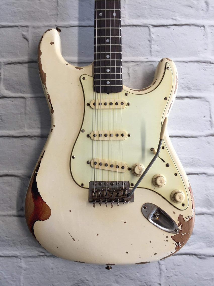 Fraser Guitars : CSS Olympic White over Sunburst Medium Relic 60s : Retro Vintage Aged Custom S-Style Guitar