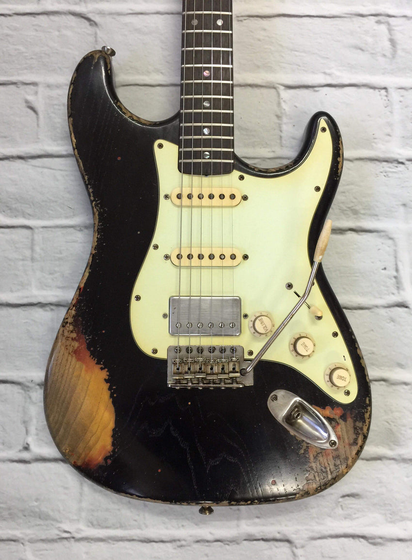 Fraser Guitars : CSS Black over Sunburst HSS Heavy Relic Ash 60s : Retro Vintage Aged Custom S-Style Guitar