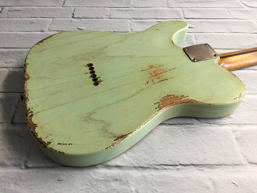 Fraser Guitars : VTS Translucent Surf Green Medium Relic Ash 50s : Retro Vintage Aged Custom T-Style Guitar