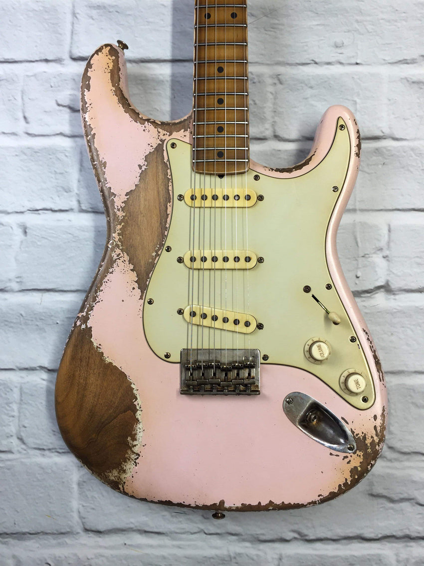 Fraser Guitars : CSS Shell Pink Hardtail Heavy Relic 60s : Retro Vintage Aged Custom S-Style Guitar