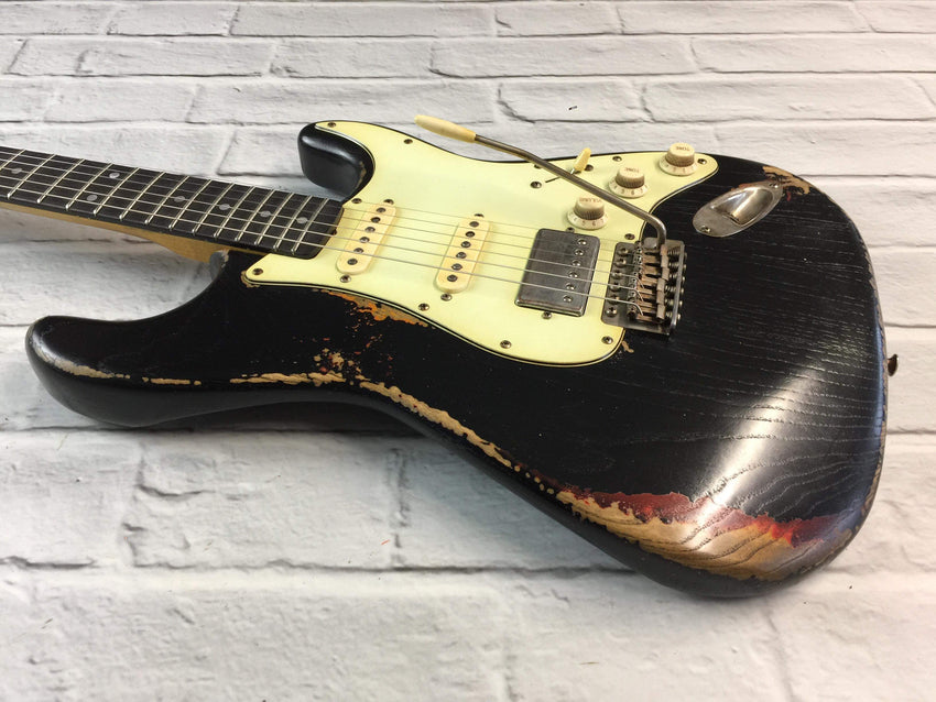 CSS Black over Sunburst HSS Medium Relic Ash 60s
