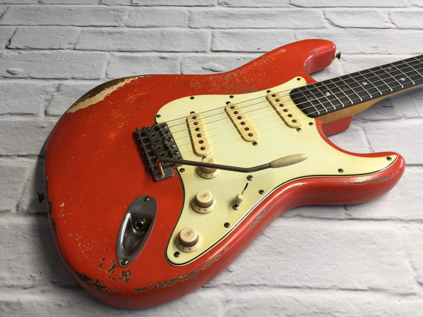 Fraser Guitars : VSS Fiesta Red Medium Relic 60s : Retro Vintage Aged Custom S-Style Guitar