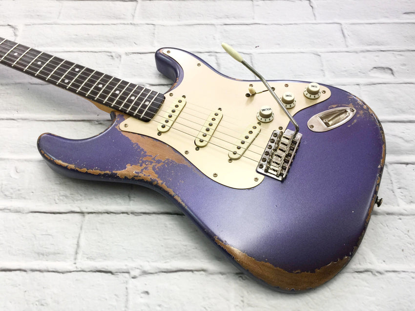 Fraser Guitars : VSS Purple Light Relic 60s : Retro Vintage Aged Custom S-Style Guitar