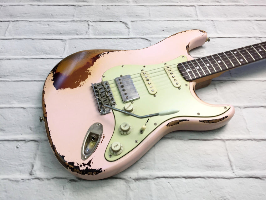 Fraser Guitars : CSS Shell Pink over Sunburst HSS Medium Relic 60s : Retro Vintage Custom Aged S-Style Guitar