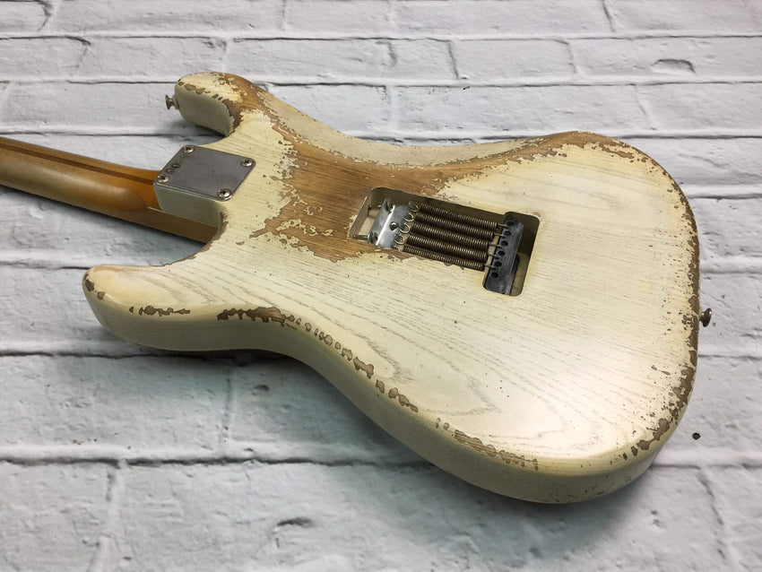 Fraser Guitars : VSS Translucent White Medium Relic Ash 50s : Retro Vintage Aged Custom S-Style Guitar
