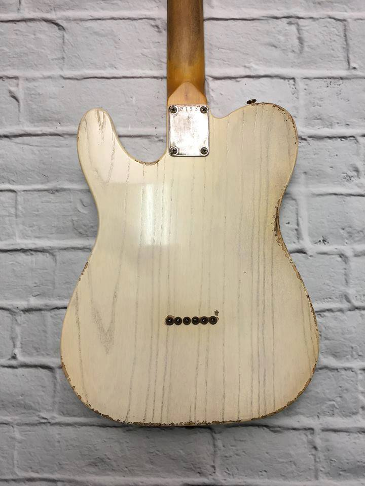 Fraser Guitars : VTS Translucent White Light Relic Ash 60s : Retro Vintage Aged Custom T-Style Guitar