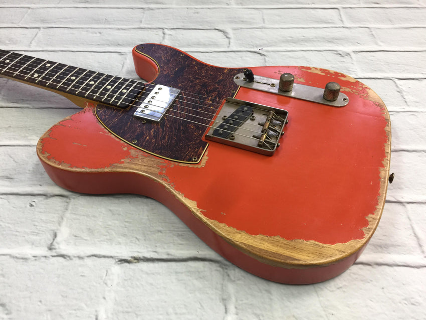 Fraser Guitars : CTS Fiesta Red SH Medium Relic Ash 60s : Retro Vintage Custom Aged T-Style Guitar