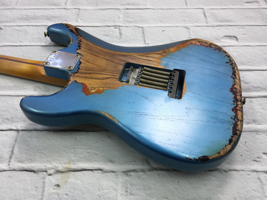 Fraser Guitars : CSS Lake Placid Blue over Sunburst HH Heavy Relic Ash 60s : Retro Vintage Custom Aged S-Style Guitar