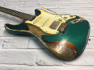CSS Sherwoord Green over Sunburst HSS Heavy Relic Ash 60s