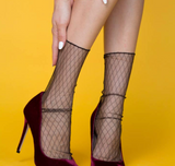 Criss Cross Sheer Sock in Black