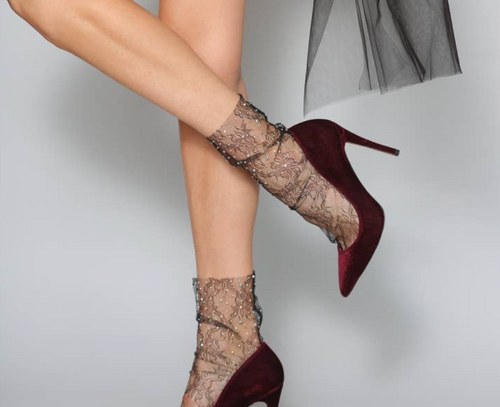 Crystal Lace Sock in Black