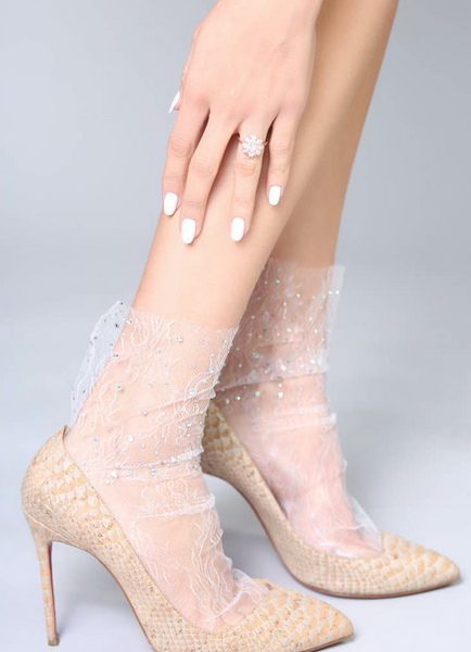 Crystal Lace Socks in White
