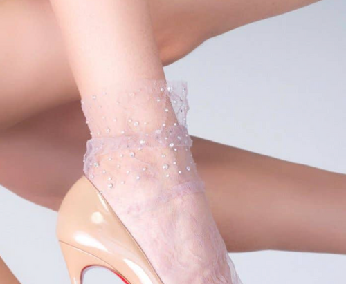Crystal Lace Socks in Lilac
