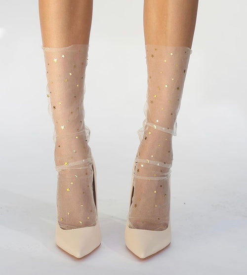 Star and Moon Invisible Tulle Sock- Peachy/ Gold