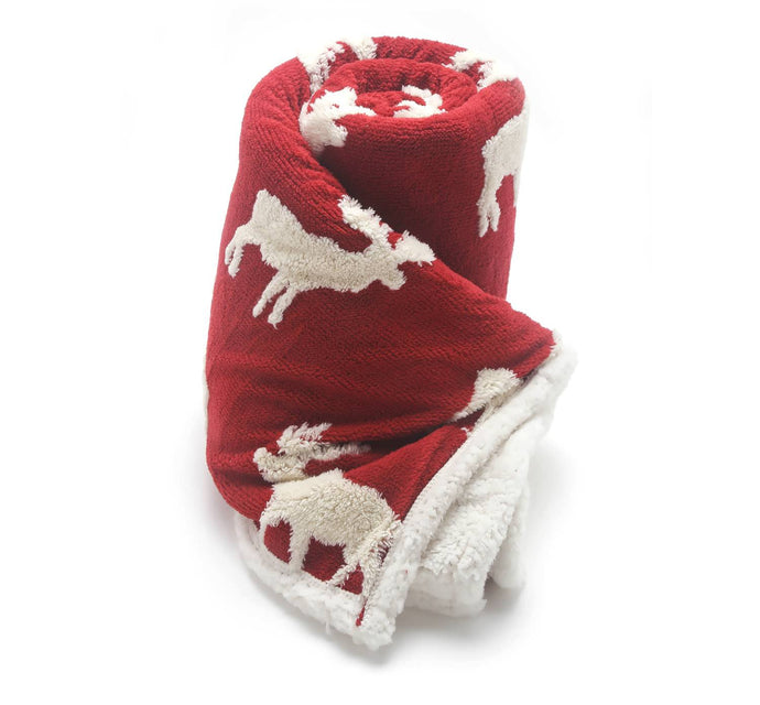 Shannon & Scott Red Moose Throw Blanket