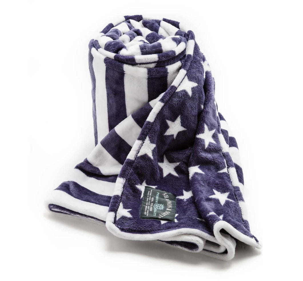 Shannon & Scott Blue Stars and Stripes Throw Blanket