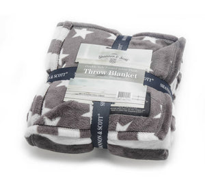 Shannon & Scott Grey Stars and Stripes Throw Blanket