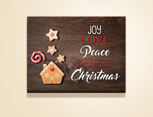 "24"" x 18"" Joy, love, Peace, Believe, Christmas canvas"